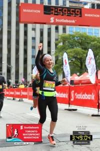 Helen at the Toronto Waterfront Marathon Finish Line!
