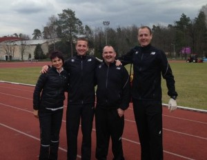 Steve with the Irish Junior team staff at training camp in Poland